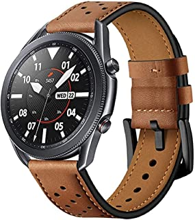 Compatible for Galaxy Watch Active 2 / Samsung Watch 3 / Huawei Watch GT2 , Genuine Leather Watch band Strap Replacement W...