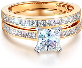Ladies Solid 14k Yellow -OR- White Gold CZ Cubic Zirconia Princess Cut Engagement Ring with Side Stones and Wedding Band Bridal Set