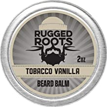 Beard Balm for Men by Rugged Roots - Hair Nourishing Beard Balm with Tobacco Vanilla Scent for Healthy Shiny Beards - Encourage Beard Growth and Strengthen Hair - Unique Stocking Stuffers for Men