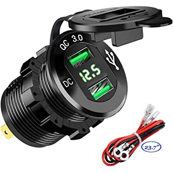 4.2A-Green Dual USB Charger Socket Power Outlet 2.1A /& 2.1A for Car Boat Marine Mobile with Wire Fuse DIY Kit