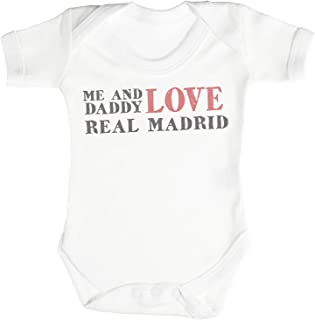 Me & Daddy Text Love Real Madrid Funny Baby Bodysuit Baby Onesies