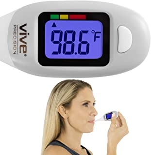 Vive Precision Digital Oral Thermometer - Large Display Axillary Temperature Fever Checker - Fast, Quick Reading, Accurate, Waterproof Electronic Basal Monitor - Medical Temp Detector - Babies, Adults
