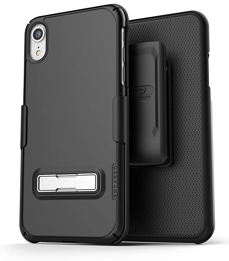 Encased (Ultra Slim) iPhone XR Belt Clip Case with Kickstand (2018) Thin Fit Slimline Series w/Swivel Holster (Black)