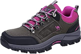 Women's Outdoor Leather Hiking Shoes Low Cut Boots Breathable Lightweight Sneaker for Walking Trekking