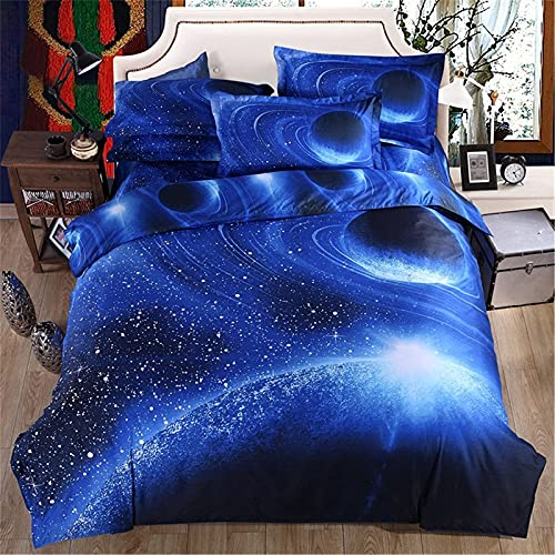 Juego de ropa de cama con 2 fundas de almohada, diseño de cielo estrellado con cierre de cremallera, funda de edredón de microfibra suave, tamaño doble 200 x 200 cm