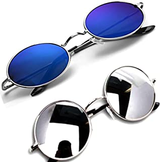 Daxter Blue-Silver Round Men's and Women's Sunglasses Combo-2