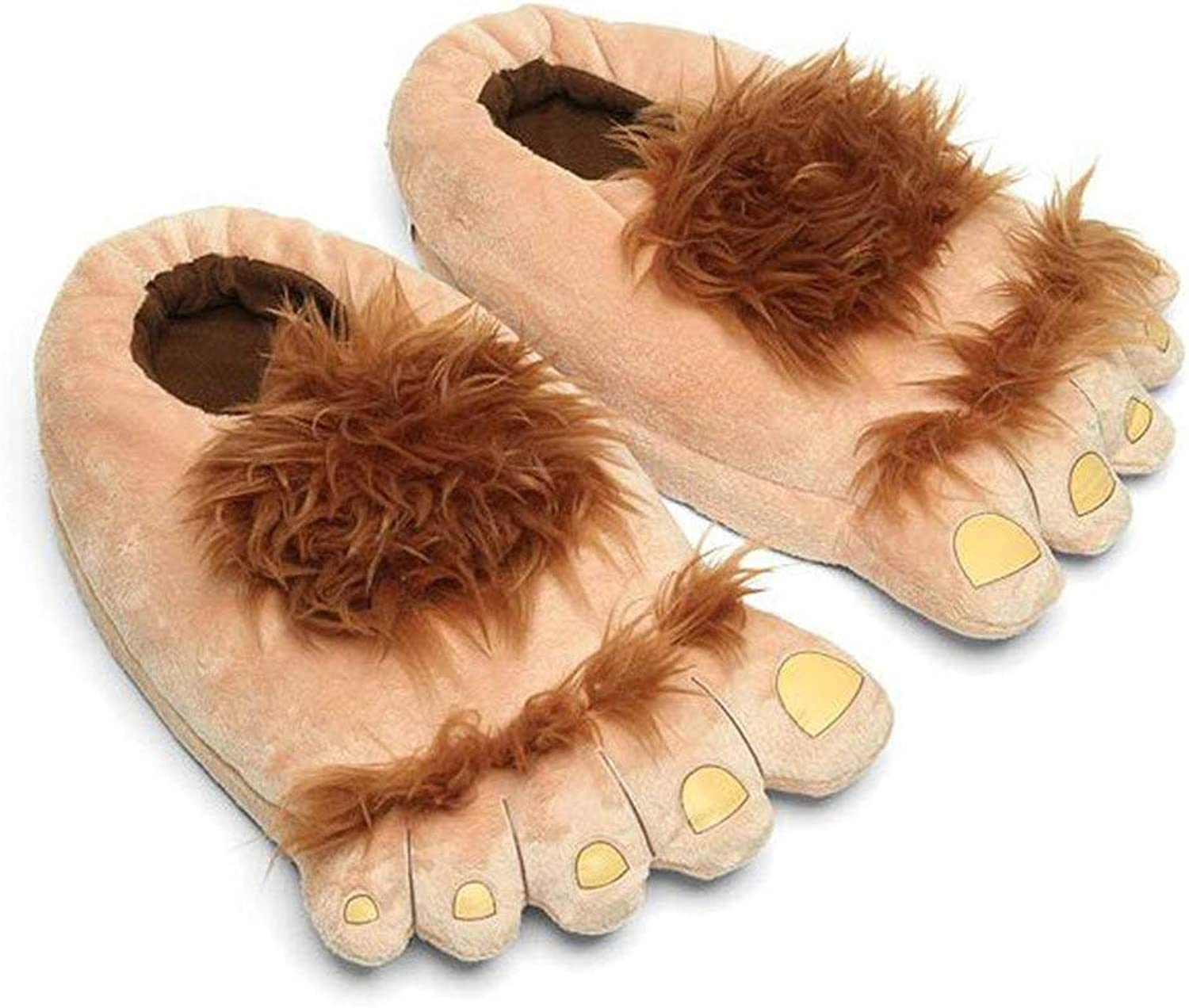 Adults Furry Monster Adventure Slippers, Comfortable Novelty Warm Winter Big Hobbit Feet Slippers