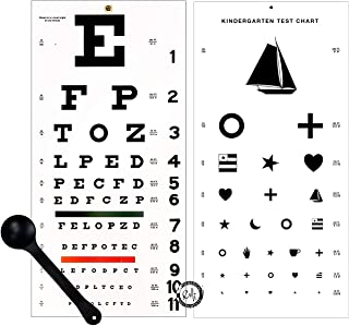 EMI OCC-WSK 3 piece set - Occluder Plus Snellen AND Kindergarten/Children Plastic Eye Vision Exam Test Wall Charts 22 by 11 in.