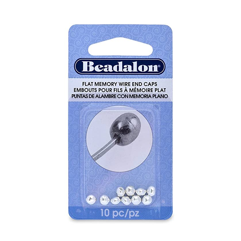 Beadalon 10-Piece Flat Memory Wire End Cap Set, 0.19 by 0.15-Inch, Silver Plate