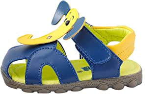 Hopscotch Baby Boys PU Sandals with Elephant Applique in Yellow Color