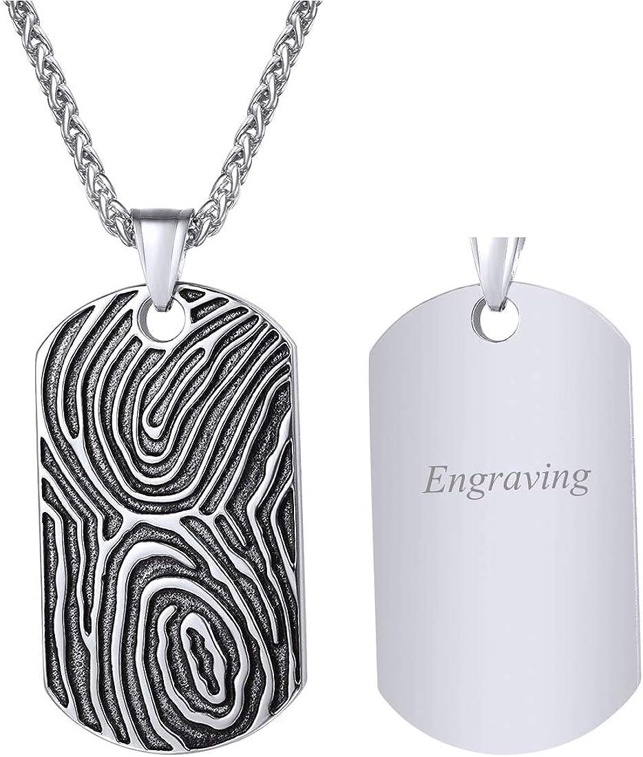 U7 Unique Fingerprint Pattern Dog Tags Necklace Men Vintage Enamel Finger Mark Charm Pendant, Customizable