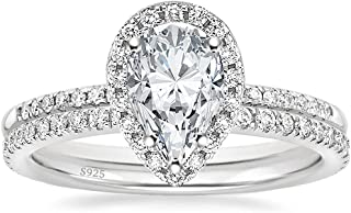 EAMTI 1.5CT 925 Sterling Silver Wedding Band Teardrop Bridal Rings Sets Halo Cubic Zirconia Solitaire Promise Angry Engines for Women اندازه 3-11