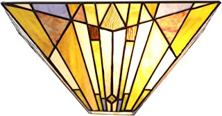 VINLUZ Tiffany Style Mission 1-Light Wall Sconce Light with 12-Inch Stained Glass Shade Night Light Multied-Colored Vintage Wall Lamp for Bedroom Hallway Living Room