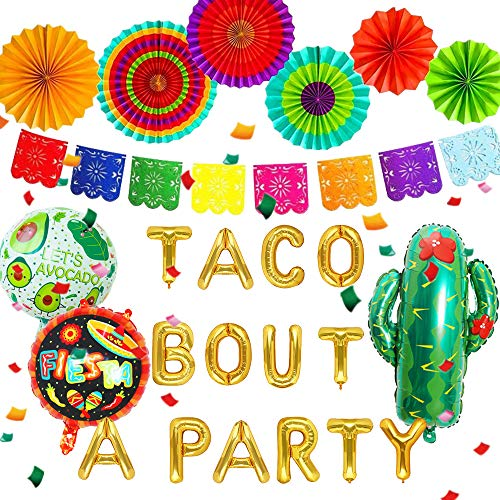 JeVenis 10 PCS Taco Bout A Party Banner Fiesta Banner Mexican Party Decorations Cinco De Mayo Birthday Party Fiesta Baby Shower Supplies