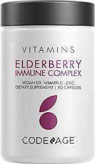 Organic Black Elderberry Supplement - Vitamin C, D, Zinc - Fermented Black Elderberries Vitamins - Elderberry Fruit Extrac...