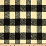 Robert Kaufman Mammoth Flannel Ivory Black Buffalo Check, Fabric by the Yard