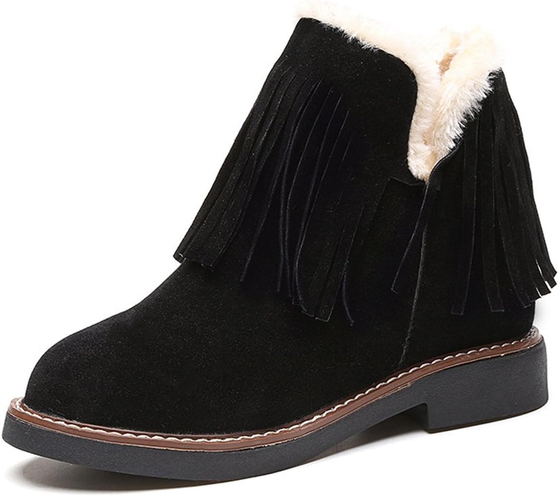 Kyle Walsh Pa Women Winter Tassels Increase Within Plus Velvet Warm Snow Boots Black