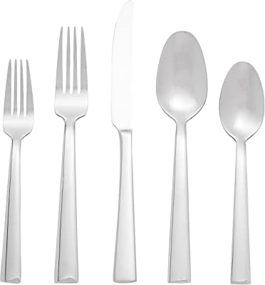Oneida Madison Avenue 45 Piece Casual Flatware Set, 18/0 Stainless, Service for 8,Silver,45pc