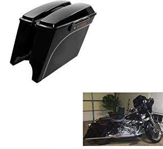 TCMT 5 Motorcycles Vivid Black Extended Hard Saddlebags & Latch Key Fits For Harley Touring Road Gglide Road King Ultra Street Glide Electra Glide 1993-2013