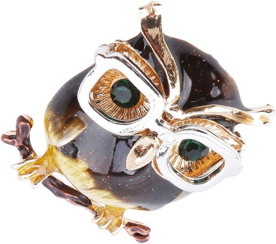 Underleaf Creative Eyeglass Owl Shape Rhinestone Brooch Pin Scarves Shawl Clip for Women Ladies