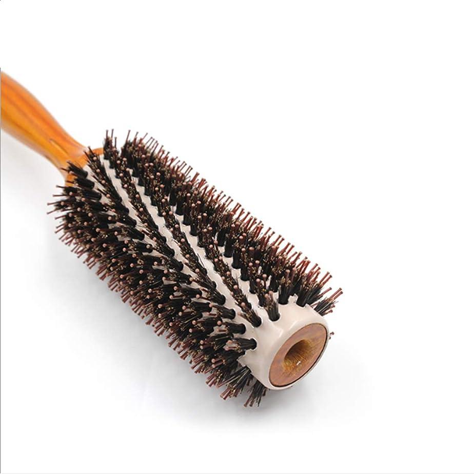 薄いです検査官それから25.3cmラウンドスタイリングヘアブラシ - ビッグフラワーコーム女性のためのヘアドレス - ブローストレート&カールロールヘアブラシ女性と男性のための天然木製ハンドルとマヌーコーム(L/M / S/XL) (サイズ : L)