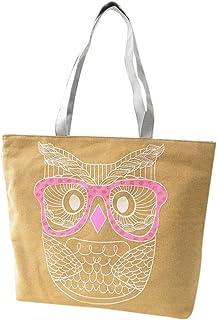 Wultia - Bags for WAMEN 2019 Fashion Fashion Lady Owl Shopping Handbag Shoulder Canvas Bag Tote Purse Bolsa Feminina Khaki