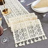 Hpory Camino de mesa de encaje vintage, color blanco, decoración de mesa para boda, casa, fiesta, mesa, mesa, estilo nórdico, 24 cm x 180 cm