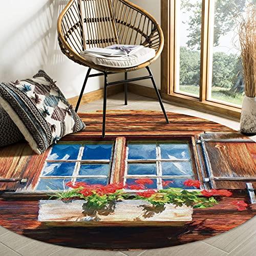 Alfombra de área redonda grande para sala de estar American Country Retro Farmhouse Puerta de madera Alfombras decorativas contemporáneas Alfombras antideslizantes con respaldo de goma Dormito