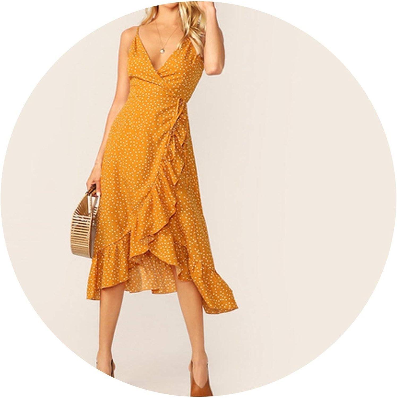 Zalin Ginger Tie Side Ruffle Trim Wrap Cami Summer Dress Women Dress Polka Dot Deep V Neck Sexy Dress