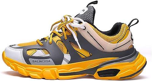 Hauszapatos de Deporte para Caminar, Deportes al Aire Libre, Antideslizantes, Antideslizantes, Hauszapatos para Correr, TransPiñables, Resistentes al Desgaste.-amarillo-44