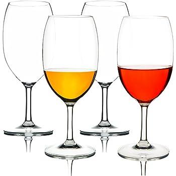 MICHLEY Unzerbrechlich Tritan-Kunststoff weinglaeser, rotwein trinkglas, gläser fur Camping Party, BPA-frei 570 ml plastik Tasse 4er set
