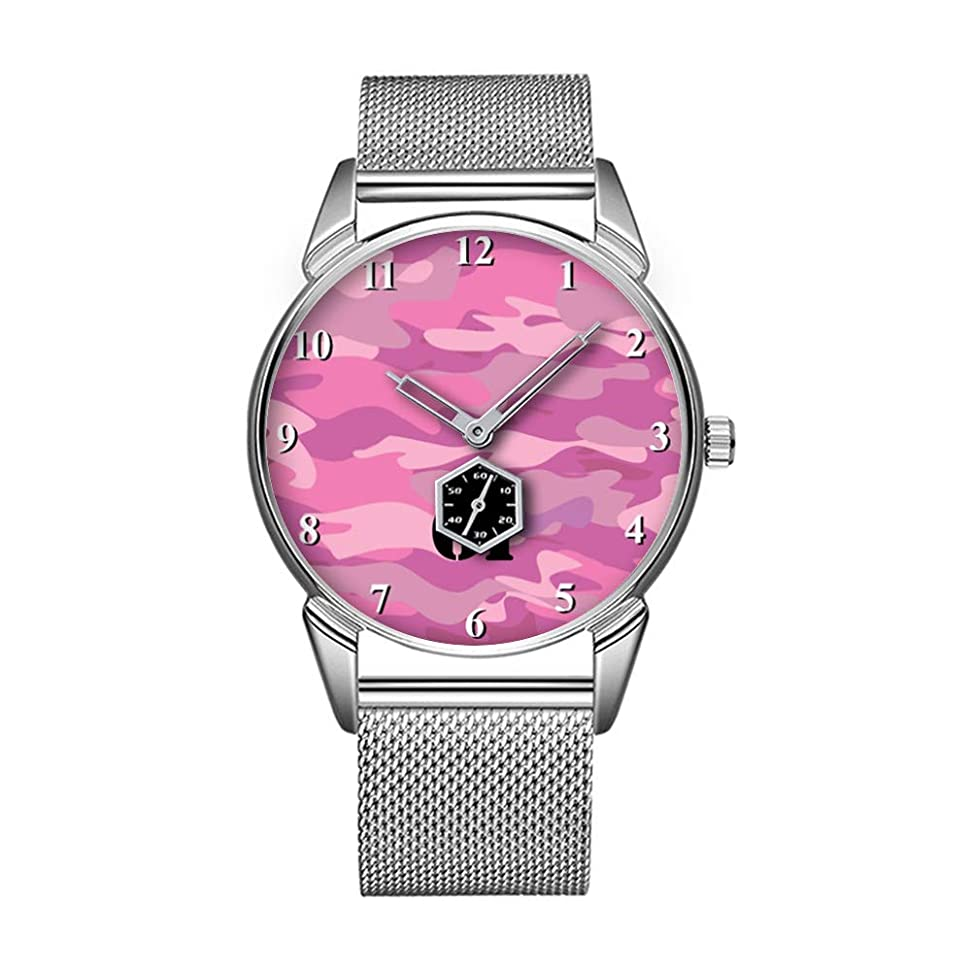 有利存在伝説ファッション防水時計ミニマリストパーソナリティパターンウォッチ -683. 十代の女の子のためのピンクの迷彩色の腕時計