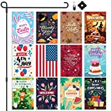"""Garden Flags Season Set of 12 with Bonus Flag Stand with Anti-Wind Clip & Rubber Stopper Included 
