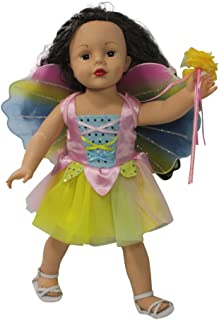 Halloween Fairy American 18 Inch Doll Clothes | Magical Tinker Bell Inspired Fairy Princess Doll Halloween Costume | Tinkerbelle | Fairy Glitter Wings | Magic Wand | Fits American Girl Dolls