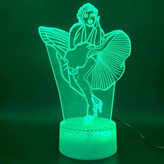 Led Night Light Celebrity Marilyn Monroe Dress Figurine Touch Sensor 3D Lamp Decoration Birthday Gift Baby Novelty Light