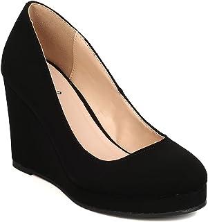 Qupid Women Nubuck Round Toe Platform Wedge Heel FH96 - Black