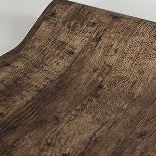 SimpleLife4U Retro marrón grano de madera papel de contacto adhesivo estante cajón revestimiento puerta cuadro adhesivo 17,7cm, de 9.8pies