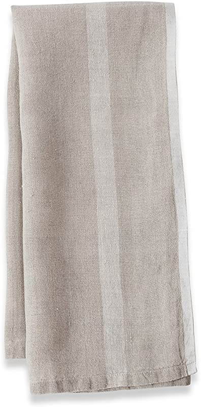 Caravan Collection By Couleur Nature Laundered Linen Stripe Tea Towels 20 Inches By 30 Inches Natural White Set Of 2