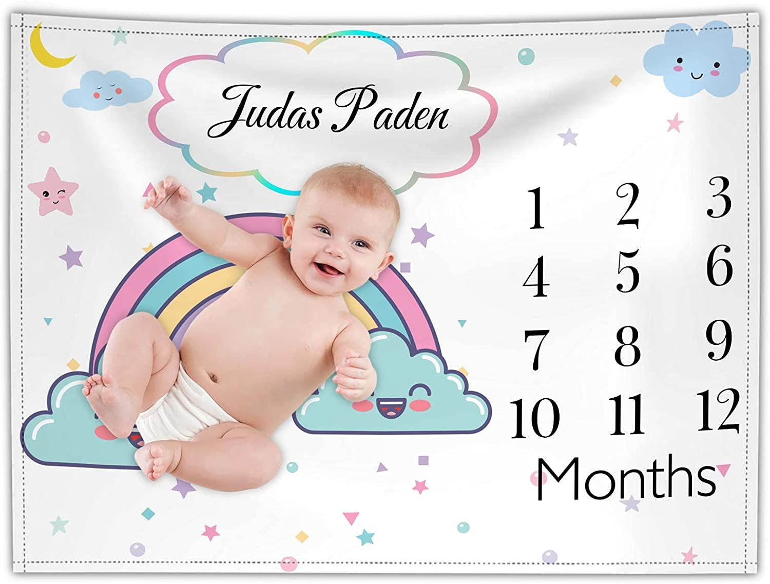 Custom Baby Monthly Milestone Blankets Personalized Rainbow Name Babies  Growth Chart Customize Animals Blanket for Boy Girl 20x20cm