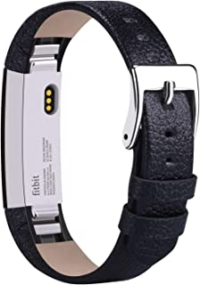 Vancle Leather Bands Compatible with Fitbit Alta/Fitbit Alta HR for Women Men, Adjustable Replacement Accessories Strap with Buckle for Fitbit Alta and Fitbit Alta HR