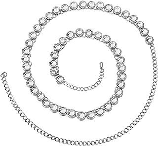 Peora Traditional Jewellery Wedding Bridal Silver Plated Kundan Waist Belt Kamarband Belly Chain for Women Girls