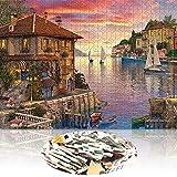 Puzzle para 1000 piezas, puzle para decoración del hogar, adultos, impresión reducida, diversión familiar, juego educativo infantil, puerto mediterráneo, puesta de sol