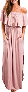 Womens Off The Shoulder Ruffle Party Dress Casual Side Split Beach Long Maxi Dresses with Pockets