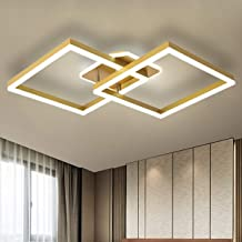 Ganeed Modern Square Ceiling Light, LED Chandeliers Flush Mount, 63W Gold Acrylic Close to Ceiling Lighting Fixture for Ki...