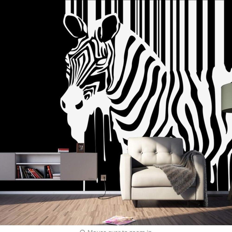 Dalxsh Vintage Wallpaper Nostalgia Resumen Negro blancoo Cebra Nios Wallpaper Decoración Mural-200X140Cm