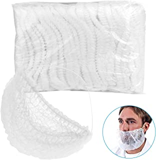Wecolor 100 Pack Disposable Beard Covers, Premium Beard Protectors, Polypropylene Fabric Beard Net, Breathable Comfortable White Beard Covers for Catering/Restaurant/Healthcare/Home