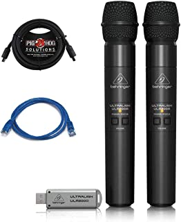 Behringer Ultralink ULM202USB 2.4 GHz Handheld Wireless Microphone System with Automatic & Manual Pairing, Dual Mode USB Receiver, Integrated Volume Control on Microphone Bundle with Patch & TRS Cable