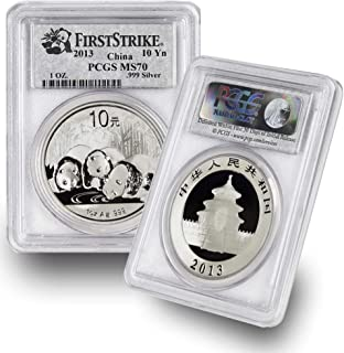2013 CN 1 oz Chinese Silver Panda Coin 10Yn MS70 PCGS First Strike