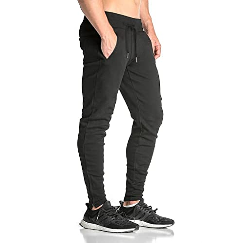 BROKIG Mens Zip Gym Joggers Sweatpants Tracksuit Jogging Bottoms Running  Trousers with Pockets facf1bc27