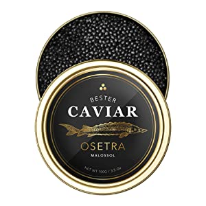 BESTER Premium Osetra Sturgeon Black Caviar - (3.50 oz (100g)) - Malossol Ossetra Black Roe - Premium Quality, Traditional Style, imported - OVERNIGHT GUARANTEED